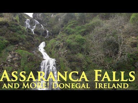 Assaranca Falls - Ireland Waterfalls- Ardara Donegal, Glenveagh Castle National Park, Maghera Caves