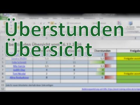 überstunden übesicht Vorlage Von Excel Training Online Youtube
