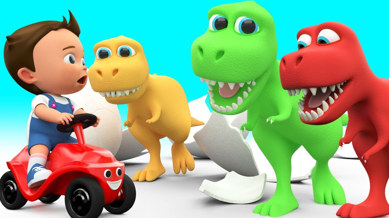 baby fun learning colors for children with cartoon dinosaur t rex 3d
