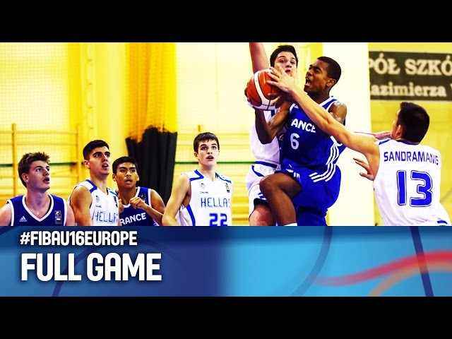 VIdeo ΕΛΛΑΔΑ - Γαλλία 43-59  (19.30, 16.08.2016) Φάση των 16 Ευρωπαϊκό Πρωτάθλημα Παίδων FIBA U16