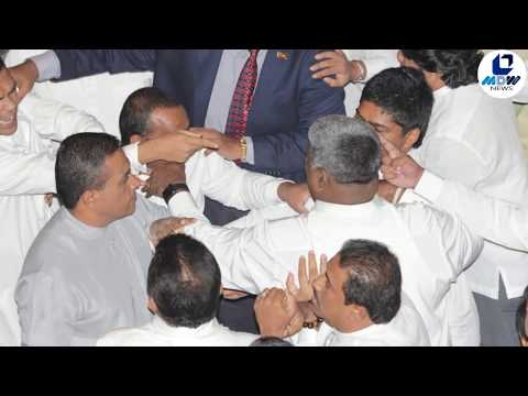 Sights&Sounds- #SriLanka Parliament today-Waste Bin hurled, Cutlery knives with MPs #lka