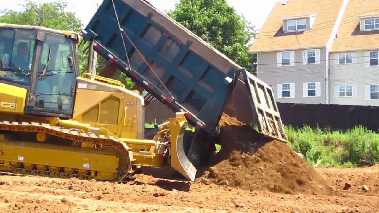 mack dump truck dumping a load of dirt youtube. Black Bedroom Furniture Sets. Home Design Ideas
