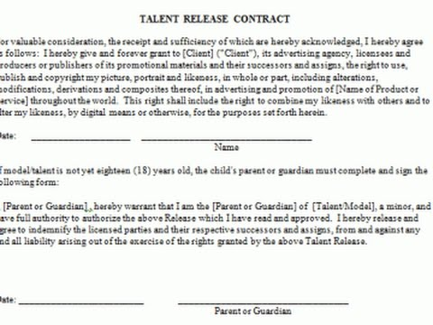 Talent Release forms at stand off?