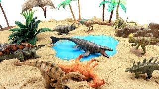 How To Make Jurassic World Dinosaurs Island! Dinosaur Mini Toy Set For Kids. Mosasaurus, Rex