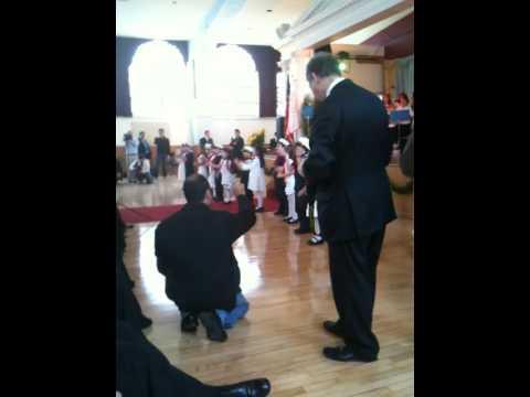 Kindergarteners of St Demetrios School in Astoria perform for Patriarch BARTHOLOMEW