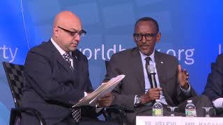 President Kagame speaks at World Bank session on Maximizing Finance for Development.