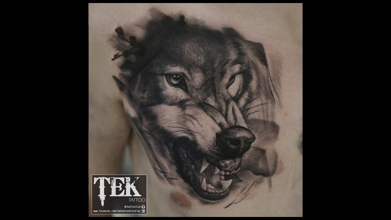 Wolf Tattoo By Tek Black And Grey On The Chest Tattoo Time Lapse