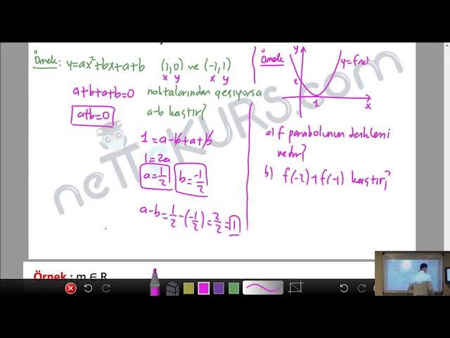 YKS - TYT - AYT Matematik - İkinci Dereceden Fonksiyonlar - 4 / nettekurs.com - Online YKS Kursu