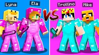 MINECRAFT: RETO CHICAS VS CHICOS! 😱 TROLLINO y MIKECRACK vs LYNA y ELA