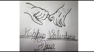 valentine pencil easy happy sketch draw