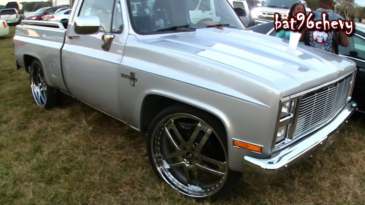 Silver short bed chevy silverado c10 truck on 26 forgiato staggered wheels 1080p hd youtube