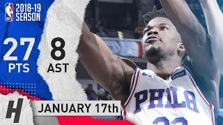 Jimmy Butler Full Highlights 76ers vs Pacers 2019.01.17 - 27 Pts, 8 Ast, 5 Rebounds!