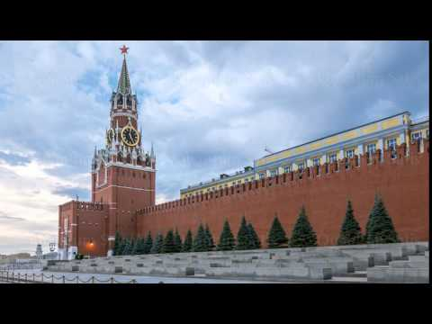 Red Square, Saviour Tower and Kremlin wall in Moscow  4k, Time Lapse