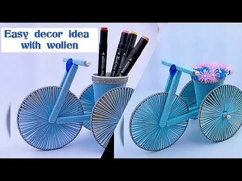 bicycle stand vase craft / diy craft | how to make easy decor idea with wollen thumbnail