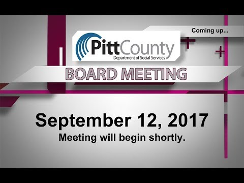 Pitt County DSS Board meeting for 9/12/2017