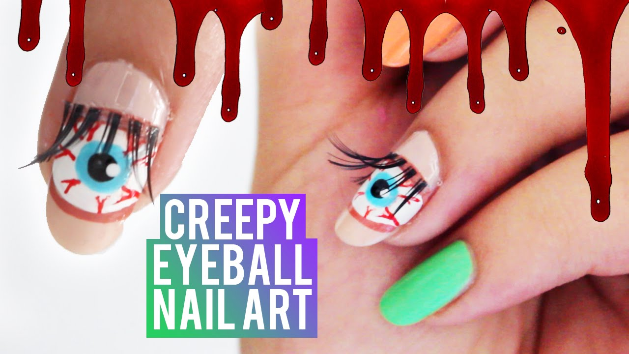 Creepy Eyeball Nail Art using EYELASHES! - YouTube