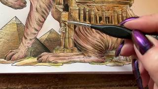 Adult Coloring - Worlds within Worlds Sphynx Cat part 3