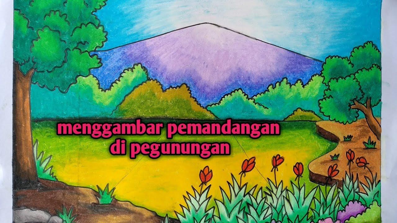 Cara Mewarnai Gradasi Dengan Crayon Pemandangan Sawah