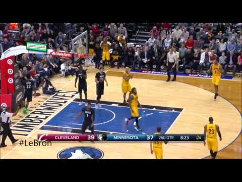 LeBron James with 14 Assists! Cavs Timberwolves Feb. 14 2016-17 Season