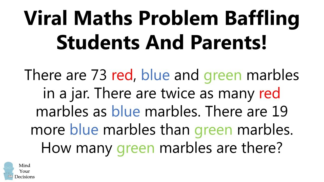 Simple Maths Problem Baffling Parents And Students!