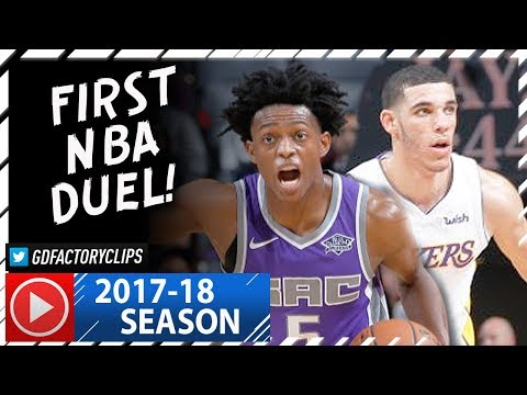Lonzo Ball vs De'Aaron Fox First NBA Duel Highlights (2017.11.22) Lakers vs Kings - INTENSE!