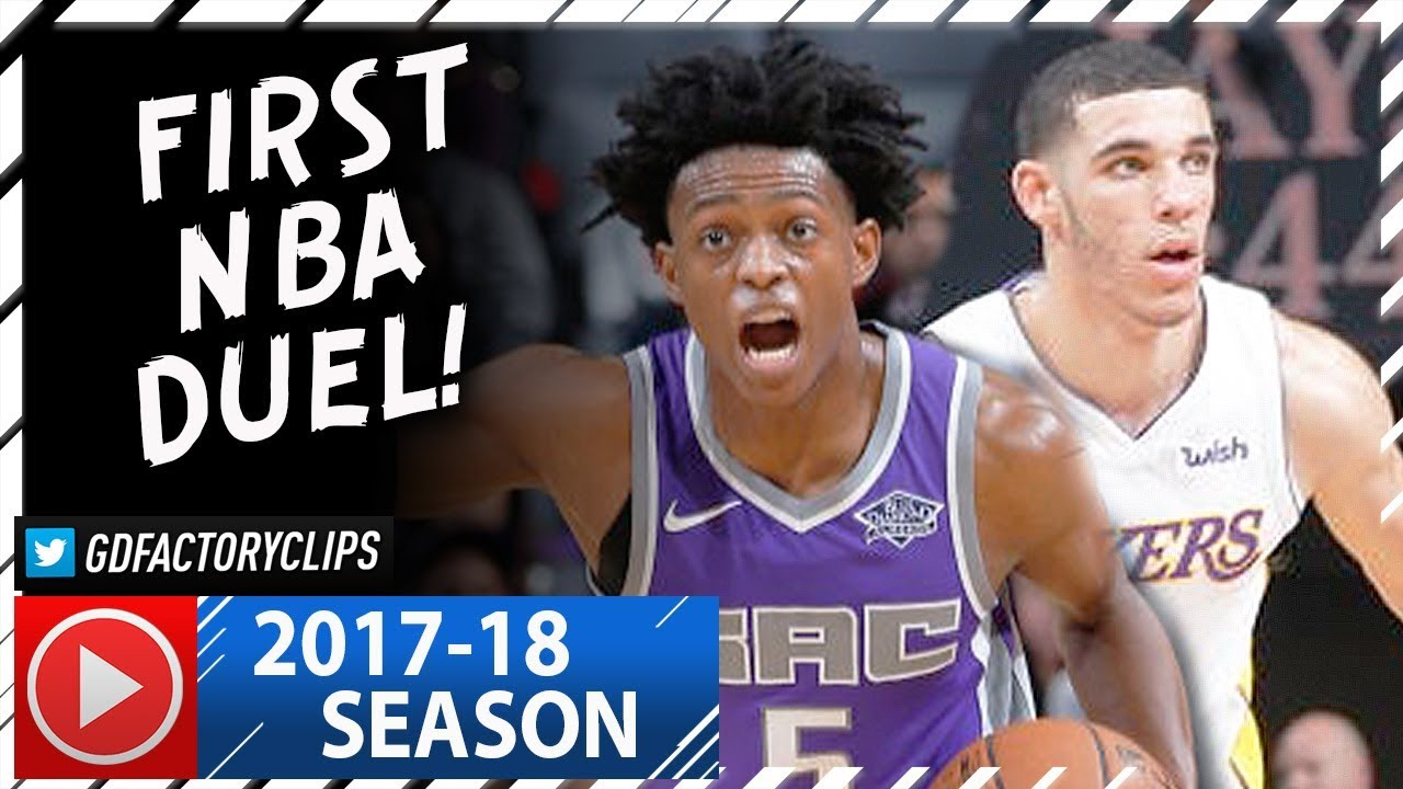 df6ea5c56f5 Lonzo Ball vs De Aaron Fox First NBA Duel Highlights (2017.11.22) Lakers vs  Kings - INTENSE!
