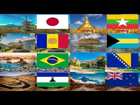 All Countries - Flags with Landmark or Landscape Images