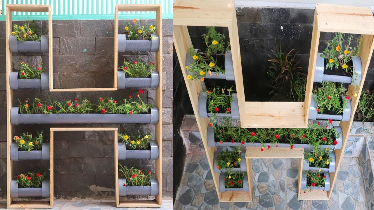 Great DIY ideas, How to make Vertical Flower Garden from Plastic PVC and Wooden