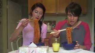 Spicy Korean Ramen challenge: LIPS ON FIRE (Spicy Ramen lipstick!) 불닭볶음면.