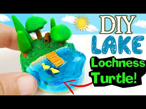 HOW TO MAKE MINIATURE LAKE SUMMER diy craft Turtle Lochness Duck polymer clay epoxy resin tutorial