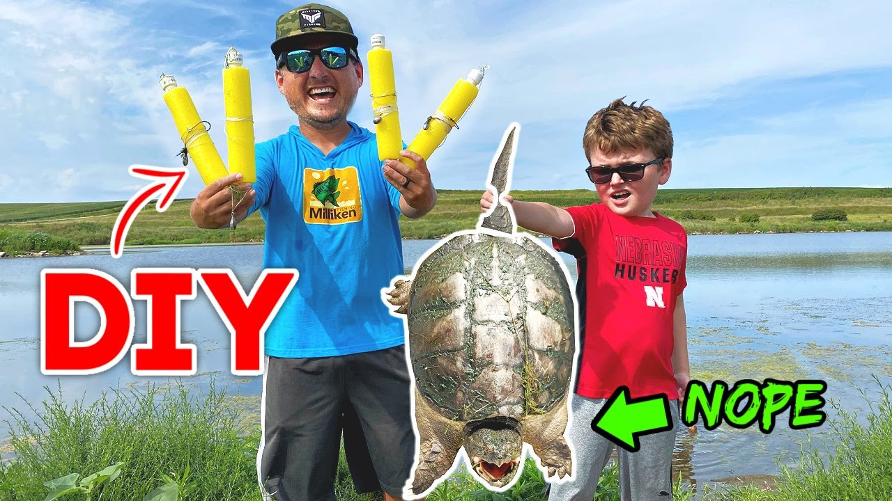 Removing HARMFUL Unwanted Pond Monsters w/ HOMEMADE Jug Fishing Lines!!