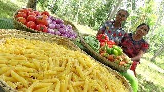 Pasta Recipe ❤ Red Sauce Penne Pasta prepared by Grandma and Mom | Village Life