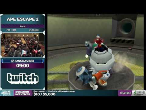 Ape Escape 2 by iongravirei in 0:55:30 - Awesome Games Done Quick 2017 - Part 1