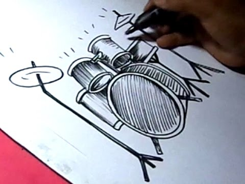 How To Draw Drums Drawing For Kids Youtube