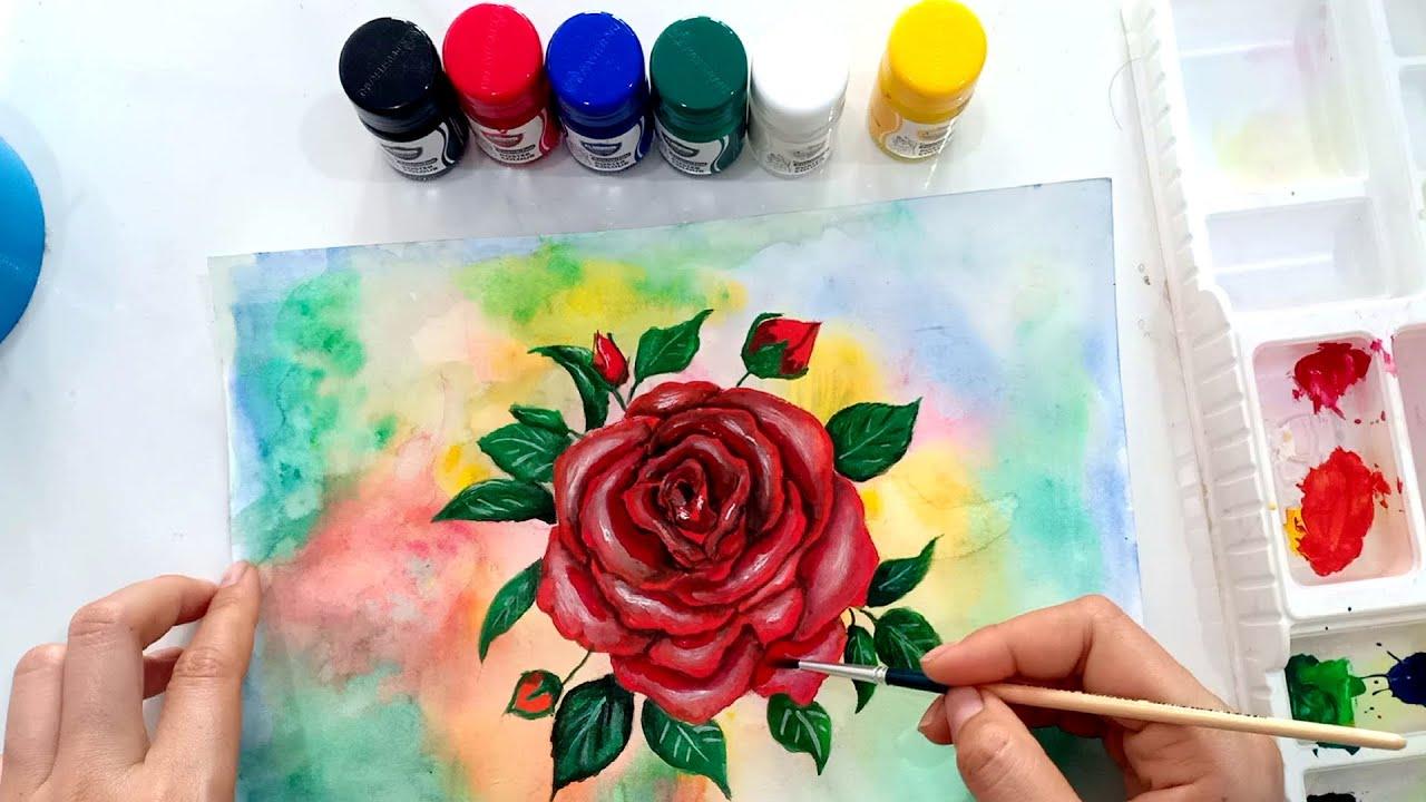 วาดภาพดอกกุหลาบ ด้วยสีโปสเตอร์ How to draw Rose with poster Colour