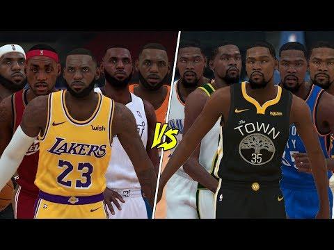 5 Different LeBron James vs 5 Different Kevin Durants!   NBA 2K19