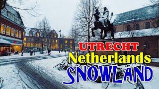 CRAZY SNOWFALL in NETHERLANDS 2019 - UTRECHT CITY