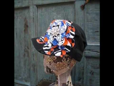 Royal Blue and Orange Frayed Flower |Black Vintage Distressed Cadet Hat