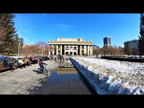 Novosibirsk - Spring walking Michurina street - Russia / Новосибирск 4К