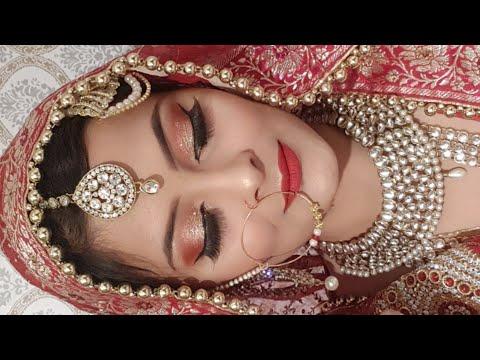 INDIAN/PAKISTANI MUSLIM BRIDAL MAKEUP LOOK -AFFORDABLE BRIDAL MAKEUP UNDER 500 RS. दुल्हन का मेकअप - 동영상