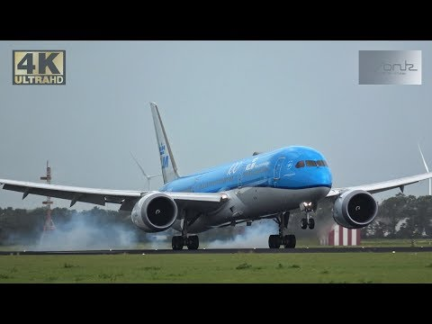 [4K] Storm!!! Plane Spotting at Schiphol Airport 10-08-2019 : Great pilot skills in windy conditions
