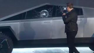 Rompen vidrio blindado de Tesla Cybertruck en plena presentación