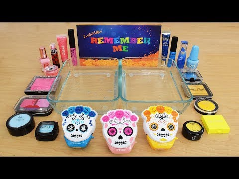 Day of the Dead - Mixing Makeup Eyeshadow Into Slime Special Series 229 Satisfying Slime Video