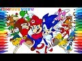 Mario and Sonic Rio Olympic! Let's play How to Draw Super Mario Coloring Page Videos for Kids マリオ