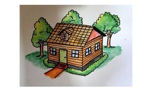 cara menggambar rumah untuk SD