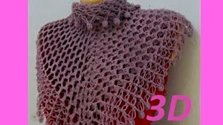 "Бактус или мини - шаль ""3 D "" .Mini crochet shawl (Шаль #34)"