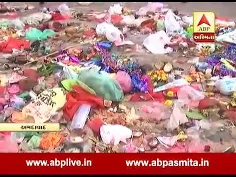 Rubbish At Ahmedabad Riverfront After Dashama Murti Visarjan