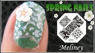 Spring Nails | Flower Print Konad Stamping Nail Art Design Tutorial Short Nails Image Plate Qa92