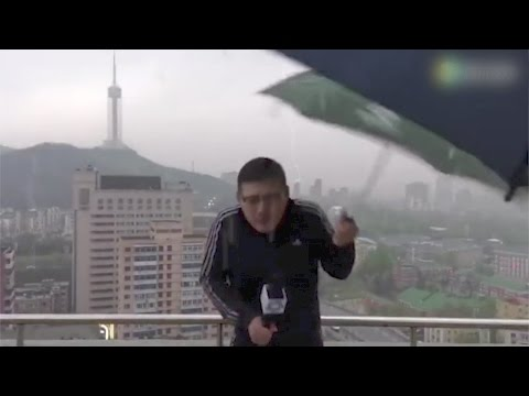 Thumbnail: Footage: News anchor hit by lightning while reporting in rainstorm