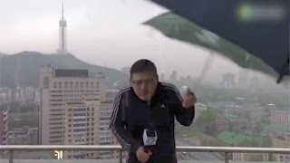 Footage: News anchor hit by lightning while reporting in rainstorm